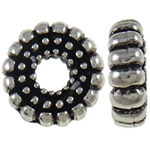 Beads European aliazh zink, Alloy zink, Petull e ëmbël në formë gjevreku, Ngjyra antike argjendi praruar, pa karrem, asnjë, , nikel çojë \x26amp; kadmium falas, 14.9x4.7mm, : 5mm, 10PC/Qese,  Qese
