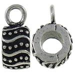 Zinklegierung Stiftöse Perlen, Kreisring, antik silberfarben plattiert, frei von Nickel, Blei & Kadmium, 14.70x6.50x9.30mm, Bohrung:ca. 3mm, 10PCs/Tasche, verkauft von Tasche