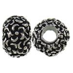 Zink Legierung Europa Perlen, Zinklegierung, Trommel, antik silberfarben plattiert, ohne troll, frei von Nickel, Blei & Kadmium, 12.20x8x12mm, Bohrung:ca. 4.6mm, 10PCs/Tasche, verkauft von Tasche