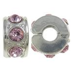 Tunxh European Clip, Rondelle, ngjyrë platin praruar, me diamant i rremë, asnjë, , nikel çojë \x26amp; kadmium falas, 10.80x5.80x11mm, : 3mm, 10PC/Qese,  Qese