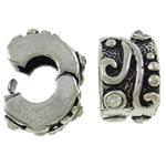 Tunxh European Clip, Rondelle, Ngjyra antike argjendi praruar, me diamant i rremë, asnjë, , nikel çojë \x26amp; kadmium falas, 9.50x9x6.50mm, : 4mm, 10PC/Qese,  Qese