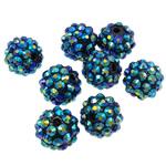 Beads diamant i rremë Rrëshirë, Rrëshirë diamant i rremë, Daulle, Ngjyra AB kromuar, asnjë, jeshile të thellë, 12x14mm, : 2.5mm, 100PC/Qese,  Qese
