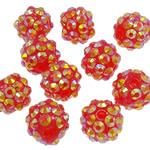 Beads diamant i rremë Rrëshirë, Rrëshirë diamant i rremë, Daulle, Ngjyra AB kromuar, asnjë, kuq pak portokalli, 10x12mm, : 2mm, 100PC/Qese,  Qese