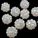 Beads diamant i rremë Rrëshirë, Rrëshirë diamant i rremë, Daulle, Ngjyra AB kromuar, asnjë, e bardhë, 10x12mm, : 2mm, 100PC/Qese,  Qese