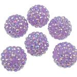 Beads diamant i rremë Rrëshirë, Rrëshirë diamant i rremë, Daulle, Ngjyra AB kromuar, asnjë, purpurtë drita, 16x18mm, : 2.5mm, 100PC/Qese,  Qese