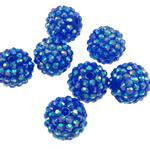 Beads diamant i rremë Rrëshirë, Rrëshirë diamant i rremë, Daulle, Ngjyra AB kromuar, asnjë, blu, 16x18mm, : 2.5mm, 100PC/Qese,  Qese