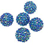 Beads diamant i rremë Rrëshirë, Rrëshirë diamant i rremë, Daulle, Ngjyra AB kromuar, asnjë, blu, 16 x18mm, : 2.5mm, 100PC/Qese,  Qese