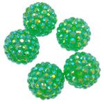 Beads diamant i rremë Rrëshirë, Rrëshirë diamant i rremë, Daulle, Ngjyra AB kromuar, asnjë, e gjelbër, 16x18mm, : 2.5mm, 100PC/Qese,  Qese