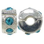 Tunxh European Clip, Rondelle, ngjyrë platin praruar, me diamant i rremë, asnjë, , nikel çojë \x26amp; kadmium falas, 10.5x6mm, : 3mm, 10PC/Qese,  Qese