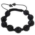 Rrëshirë Shamballa Bracelets, Round, punuar me dorë, me diamant i rremë, e zezë, 14mm, : 7.5Inç,  7.5Inç,