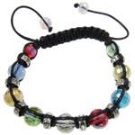 Crystal Shamballa Bracelets, Kristal, Round, Ngjyra AB kromuar, i tejdukshëm, ngjyra të përziera, 10mm, : 7.5Inç,  7.5Inç,