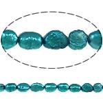 Barok Beads kulturuar Pearl ujërave të ëmbla, Pearl kulturuar ujërave të ëmbla, Nuggets, i lyer, jeshile të thellë, 6-7mm, : 0.8mm, :14.5Inç,  14.5Inç,