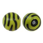 Beads Printime akrilik, Round, transferimit të ujit pikturë, shirit, i verdhë, 12mm, : 3mm, 450PC/Qese,  Qese