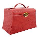 Bizhuteri lëkure Set Box, PU, Drejtkëndësh, asnjë, textured, i kuq, 170x240x150mm,  PC