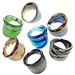Ring Finger lampwork, Shape përziera, punuar me dorë, nxjerr në pah ari dhe argjendi me letër varaku, ngjyra të përziera, 24-28mm, : 19mm, :9, 24PC/Kuti,  Kuti
