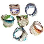 Ring Finger lampwork, Shape përziera, punuar me dorë, rërë ari, ngjyra të përziera, 26-28mm, : 19mm, :9, 24PC/Kuti,  Kuti