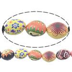 Beads polimer balta, Polymer Clay, Oval, asnjë, i përzier, asnjë, 21x16mm, : 1.2mm, : 15.5Inç, 10Fillesat/Shumë,  Shumë