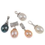 Pendants Pearl ujërave të ëmbla, Pearl kulturuar ujërave të ëmbla, with 925 Sterling Silver, Shape përziera, natyror, ngjyra të përziera, 17x10-29.5-11.5mm, : 2.5-4mm,  PC