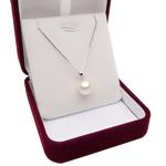 925 Sterling Silver gjerdan perlash, Pearl kulturuar ujërave të ëmbla, with 925 Sterling Silver, Round, natyror, e bardhë, 9.5-10mm, :17Inç,  17Inç,