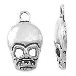 Pendants Skull Alloy zink, Kafkë, Ngjyra antike argjendi praruar, asnjë, asnjë, , nikel çojë \x26amp; kadmium falas, 11x19x2.50mm, : 2mm, 1250PC/KG,  KG