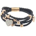 Cord Bracelets PU, with diamant i rremë Shtrim bead, Shape Tjera, asnjë, 5-fije floku, e zezë, 17x14x11mm, 7x8x8mm, 20x10mm, 14x12x9mm, 10x9x9mm,, : 8.5Inç, 2Fillesat/Shumë,  Shumë