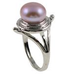 Ujërave të ëmbla Pearl Ring Finger, Pearl kulturuar ujërave të ëmbla, Round, natyror, purpurtë drita, 21x30x18.50mm, : 18.5mm, :8.5, 10PC/Qese,  Qese