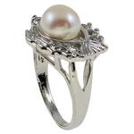Ujërave të ëmbla Pearl Ring Finger, Pearl kulturuar ujërave të ëmbla, Peshk, natyror, e bardhë, 21x29.50x16mm, : 18mm, :8, 10PC/Qese,  Qese