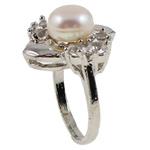 Ujërave të ëmbla Pearl Ring Finger, Pearl kulturuar ujërave të ëmbla, with Diamant i rremë & Tunxh, Shape Tjera, natyror, e bardhë, 21x29.50x18mm, : 18mm, :8, 10PC/Qese,  Qese