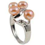 Ujërave të ëmbla Pearl Ring Finger, Pearl kulturuar ujërave të ëmbla, with Diamant i rremë & Tunxh, Shape Tjera, natyror, rozë, 20.50x26x15mm, : 17mm, :6.5, 10PC/Qese,  Qese