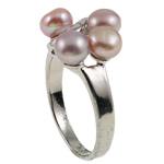 Ujërave të ëmbla Pearl Ring Finger, Pearl kulturuar ujërave të ëmbla, with Diamant i rremë & Tunxh, Shape Tjera, natyror, purpurtë drita, 20.50x26x15mm, : 17mm, :6.5, 10PC/Qese,  Qese