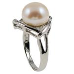 Ujërave të ëmbla Pearl Ring Finger, Pearl kulturuar ujërave të ëmbla, with Tunxh, Shape Tjera, natyror, e bardhë, 22x33x18mm, : 19mm, :9, 10PC/Qese,  Qese
