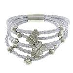 Cord Bracelets PU, with Argjilë & Diamant i rremë, Shape Tjera, asnjë, 5-fije floku, e bardhë, 9x9mm, 12.5x12.5x11mm, 15x15mm, 8mm, 4mm, : 8Inç, 3Fillesat/Shumë,  Shumë