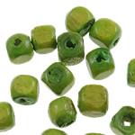 Beads druri, Kub, i lyer, asnjë, e gjelbër, 3x3mm, : 1mm, 25000PC/Qese,  Qese