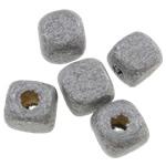 Beads druri, Kub, i lyer, asnjë, dritë gri, 5mm, : 2mm, 9255PC/Qese,  Qese