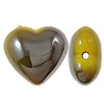 Beads UV akrilik Plating, Zemër, Plating UV, asnjë, i verdhë, 22x20x12mm, : 2.5mm, 165PC/Qese,  Qese