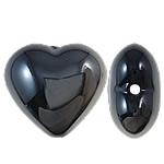 Beads UV akrilik Plating, Zemër, Plating UV, asnjë, e zezë, 22x20x12mm, : 2.5mm, 165PC/Qese,  Qese