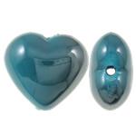Beads UV akrilik Plating, Zemër, Plating UV, asnjë, blu, 22x20x12mm, : 2.5mm, 165PC/Qese,  Qese