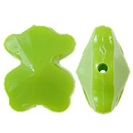 Beads Solid Color akrilik, Bear, asnjë, ngjyra të forta, e gjelbër, 15x19x10mm, : 1.5mm, 355PC/Qese,  Qese