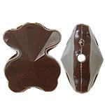 Beads Solid Color akrilik, Bear, asnjë, ngjyra të forta, ngjyrë të thellë kafe, 15x19x10mm, : 1.5mm, 355PC/Qese,  Qese
