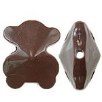 Beads Solid Color akrilik, Bear, asnjë, ngjyra të forta, ngjyrë kafe, 21x25x14mm, : 2.5mm, 155PC/Qese,  Qese