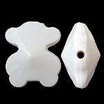 Beads Solid Color akrilik, Bear, asnjë, ngjyra të forta, e bardhë, 21x25x14mm, : 2.5mm, 155PC/Qese,  Qese