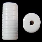 Beads Solid Color akrilik, Tub, asnjë, ngjyra të forta, e bardhë, 12.50x11x30mm, : 3mm, 145PC/Qese,  Qese
