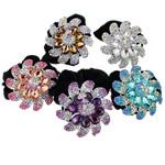 Tie diamant i rremë Flokët Lule, Velveteen, with Xham & Diamant i rremë & Alloy zink, Ngjyra argjend praruar, asnjë, 61x26mm, : 6Inç, 12PC/Qese,  Qese
