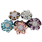 Tie diamant i rremë Flokët Lule, Velveteen, with Xham & Diamant i rremë & Alloy zink, Ngjyra argjend praruar, asnjë, 60x69x18mm, : 6Inç, 12PC/Qese,  Qese