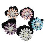 Tie diamant i rremë Flokët Lule, Velveteen, with Xham & Diamant i rremë & Alloy zink, Ngjyra argjend praruar, asnjë, 63x21mm, : 6Inç, 12PC/Qese,  Qese