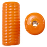 Beads Solid Color akrilik, Tub, asnjë, ngjyra të forta, portokalli thellë kuqalashe, 12.50x11x30mm, : 3mm, 145PC/Qese,  Qese