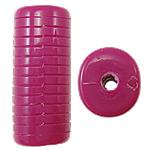 Beads Solid Color akrilik, Tub, asnjë, ngjyra të forta, Pink fuchsia, 12.50x11x30mm, : 3mm, 145PC/Qese,  Qese