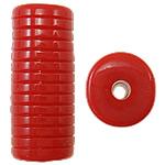 Beads Solid Color akrilik, Tub, asnjë, ngjyra të forta, i kuq, 12.50x11x30mm, : 3mm, 145PC/Qese,  Qese