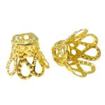 Iron Bead Caps, Lule, ngjyrë ari praruar, asnjë, asnjë, , nikel çojë \x26amp; kadmium falas, 8x6.5mm, : 2mm, 5000PC/Qese,  Qese