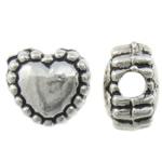 Beads Zink Alloy Zemra, Alloy zink, Zemër, Ngjyra antike argjendi praruar, asnjë, asnjë, , nikel çojë \x26amp; kadmium falas, 5.50x5x3.50mm, : 1.2mm, 3125PC/KG,  KG